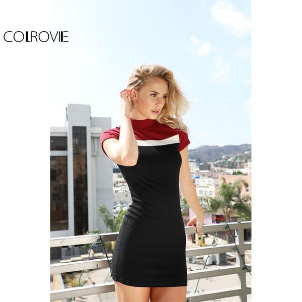 Großhandel Colrovie Koreanische Frauen Kleidung Patchwork Kleid ...
