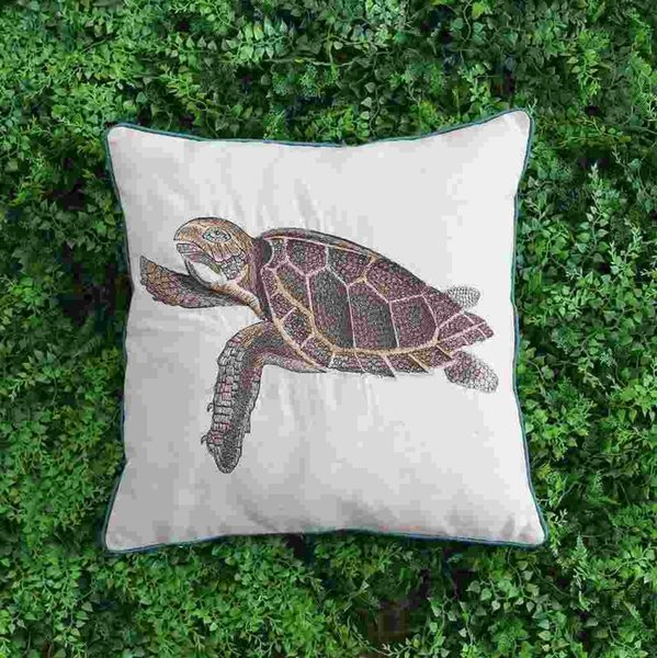 VEZO HOME embroidered brown turtle sofa cushions home decorative throw pillows chair seat home decoration pillowcase 18x18inch