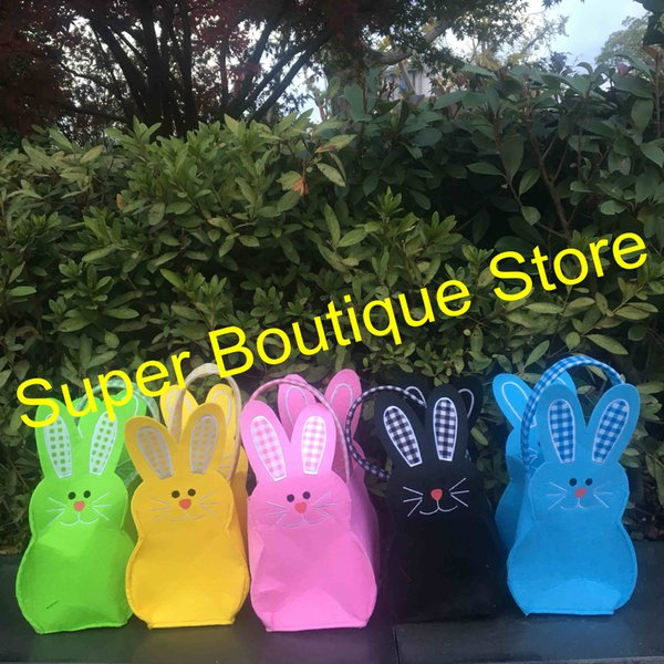 2018 Easter day new arrival felt material 5 colors easter bunny bucket kids candy gift bags easter egg storage tote bag