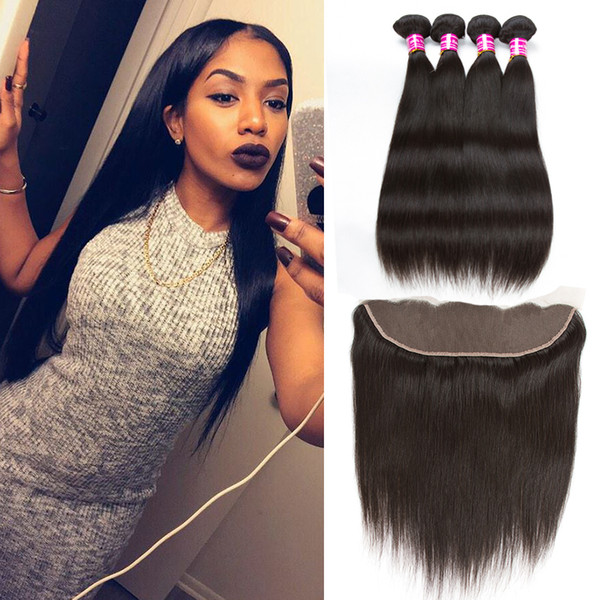 Brazilian Peruvian Straight Human Hair Weave Bundles Straight Weaves Style 4pcs with Lace Frontal Closure and Bundles Remy Hair Company