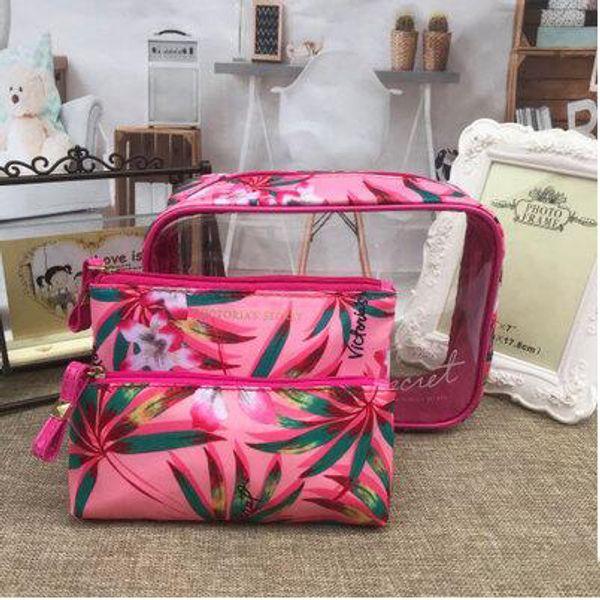Marca de moda das Mulheres Sacos De Cosméticos 3 Conjuntos de Boa Qualidade Casos de Armazenamento À Prova D 'Água Portátil Stripe Impresso Rosa Saco de Higiene Pessoal