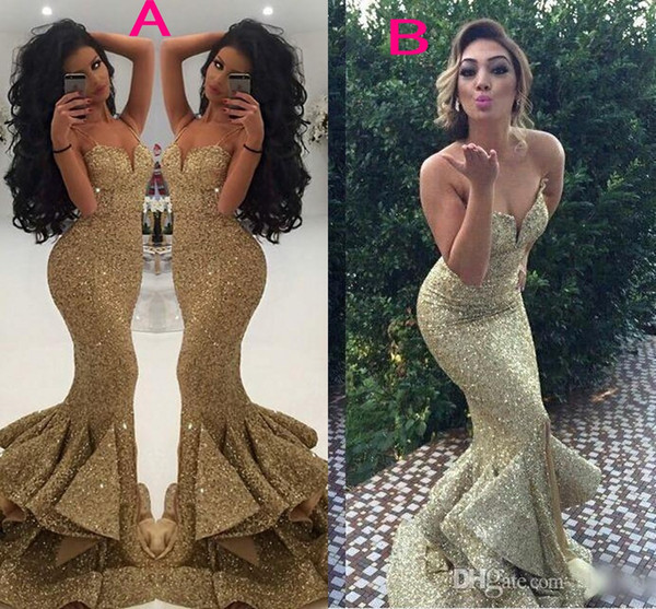 top popular 2018 Gold Arabic Sequins Mermaid Evening Dresses Split Spaghettis Straps Mermaid Gold Evening Gowns Lace Appliques Open Back Prom Gowns 2019