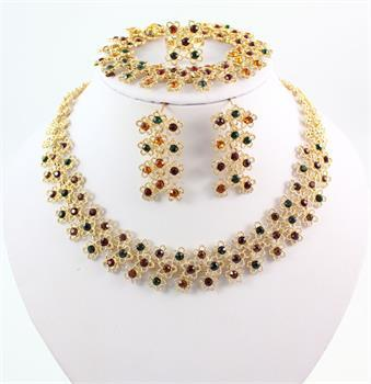 Brand New Fashion Unique Design 18K Gold Plated Colorful Crystal Statement Necklace Bracelet Earring Ring Wedding Jewelry sets