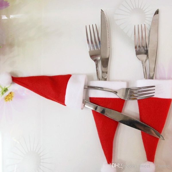 2017 Christmas Hat Silverware Holder Mini Red Santa Claus Cubiertos Bolsa de decoración del partido lindo regalo Hat vajilla Holder Set envío gratis
