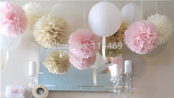 """Wholesale-Artificial Flower Wedding Decoration free Shipping 50 Pcs 10"""" 25cm 26colors Paper Tissue Pom Poms Bouquet Flower Balls Shower"""