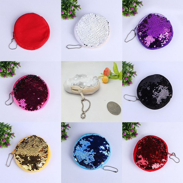 New Colorful Mini Mermaid Sequins Round Kids Coin Bags Pouch Wallet Purse Lovely Gift Free Shipping