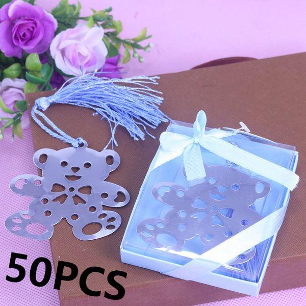 Atacado-50PCS Bluk Partido Urso Teddy Bookmarks Boxed Para Nupcial Crianças Baby Shower Birthday Baptismo Guest Giveaway Presentes Wedding Favors