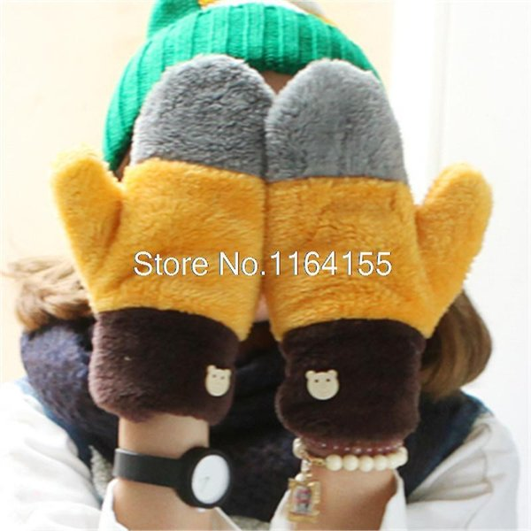 Wholesale-High quality Gloves winter padded warm lovely lady full finger bag wool quality wool double-layer Motorcycle luvas em34