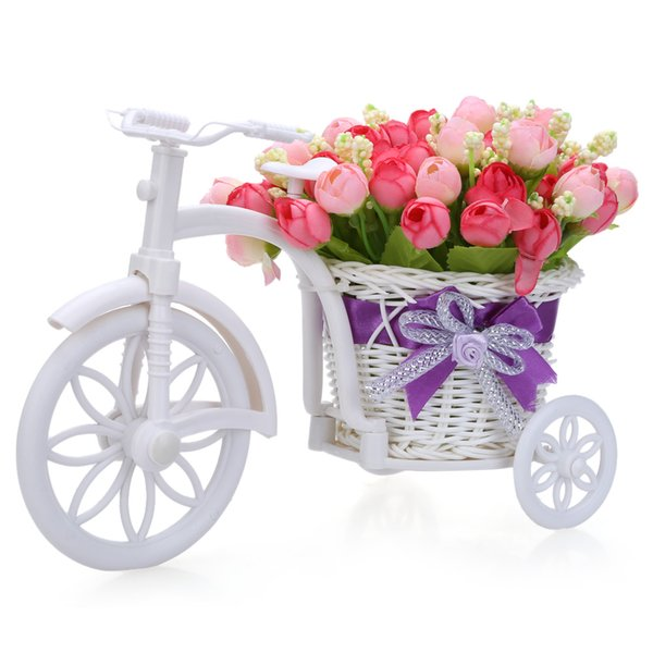 Wholesale- Creative Rose Tricycle Artificial Flower Rattan Vase Set Durable Birthday Gift for Party Valentine's Day Garden Home Hecoration