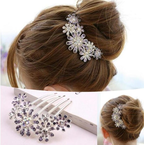 2016 New Fashion Jewelry Women Beautiful Crystal Rhinestone Decorate Petal Tuck Hair Comb Flower Pin Hair Clip, Hair Accessories