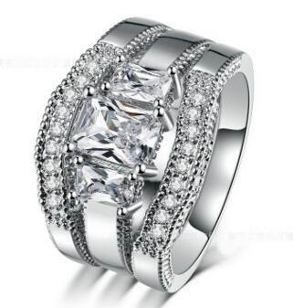 14K White Gold Plated His and Her Lad Diamond Engagement Bridal Wedding Band Trio Ring Set