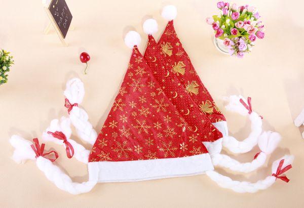 Chapéus de natal do floco de neve de ouro lua e estrelas Natal millinery Não Tecido Suprimentos de Natal Querida Xmas Chapéus Vermelhos Com Trança em estoque
