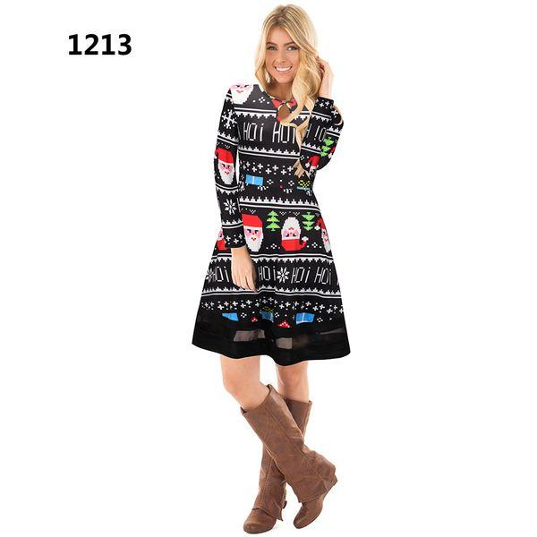Compre Vestido De Fiesta De Navidad De Invierno 2018 Mujeres De Manga Larga Del O Cuello Vestidos De Impresión Informal De Dibujos Animados Lindo Ropa