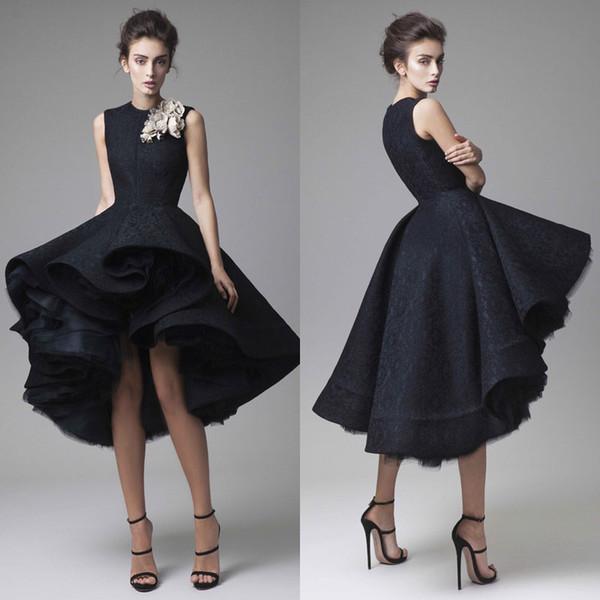 Vestidos de baile de Krikor Jabotian hechos a mano flor joya cuello negro longitud de la rodilla vestidos de noche formales sin mangas de la alfombra roja vestido de fiesta