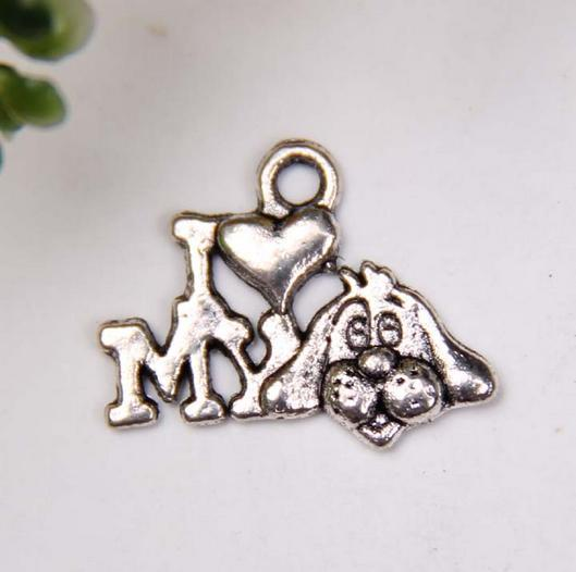 """Hot ! 200pcs Antique Silver Single-sided design """" I love my dog """" Charms pendants DIY Jewelry 18 x14mm (370)"""