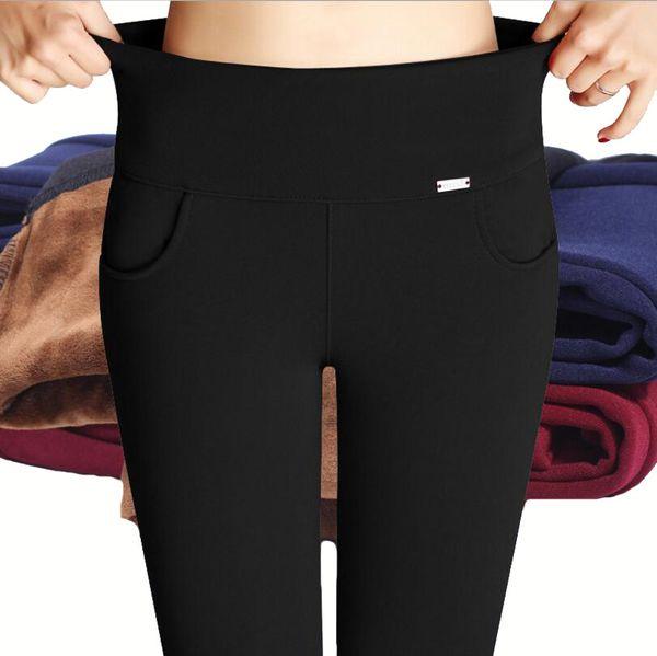 Зимние леггинсы женщины толстые леггинсы теплый плюс размер S-4XL бархат леггинсы высокой талией леггинсы брюки карандаш брюки