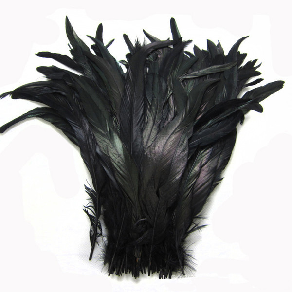 Free shipping Wholesale 100pcs/lot 12-14inch black Coque cock feather rooster tail Feather for Costumes decor crafts party decor