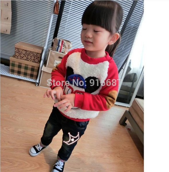 Wholesale-free shipping winter clothing Korean style super cute bottoming hedging thick cashmere sweater both for girls and boys