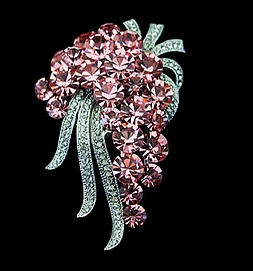 2.5 Inch Vintage Silver Light Mix Color Crystal Rhinestone Crystal Diamante Large Pin Brooch Pins