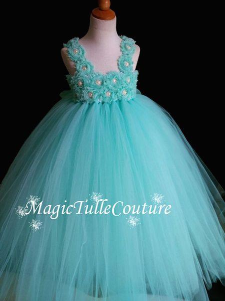 Aqua Flower Girl Dress Shabby Chic Flowers Dress Tulle Wedding Dress Birthday Toddler Tutu