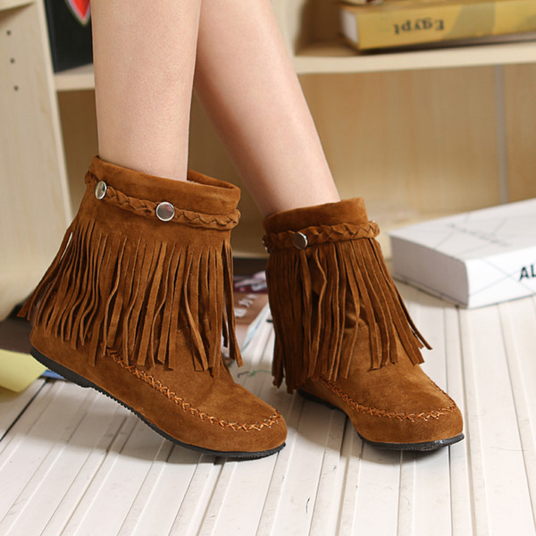 Autumn/winter south Korean edition tassel rivet woven with handmade snow boots HSH 116-8