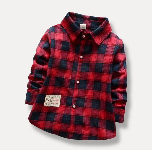 Children Boys Long Sleeve Shirt Baby Kids Autumn Spring Shirt Grid Boy's Shirt 4 P/L