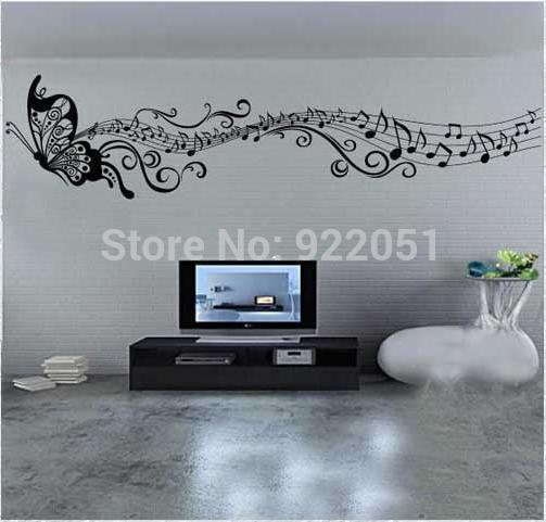Free Shipping Flying Butterfly Note Wallpapers Music Decor Decal Art Vinyl Quote Removable Music Note Wall Stickers ZY8121s