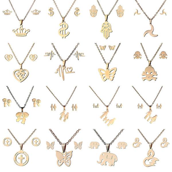 16 estilos conjuntos de Jóias em aço inoxidável 316L Coroa Crânio borboleta Elefante Coração pingente de colar Brinco Set Para as mulheres Moda Jóias