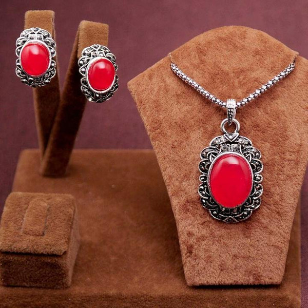 2PCS New Arrival Romantic antique silver blue/red round beads Design Necklace Earrings Jewelry Set women's gift free ship