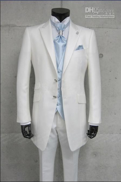 Custom Made Long White Ticket Pocket Groom Tuxedos Best Man Peak Lapel Groomsmen Men Wedding Suits Bridegroom (Jacket+Pants+Tie+Vest) H785