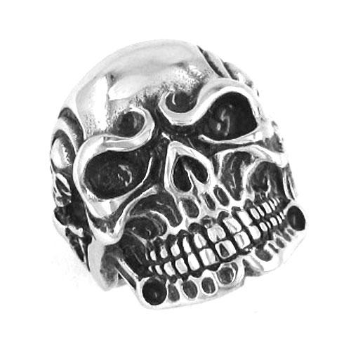 Free Shipping! Retro Vintage Jewelry Gothic Skull Biker Ring Stainless Steel Jewelry Men Motor Biker Skull Ring Wholesale SWR0082