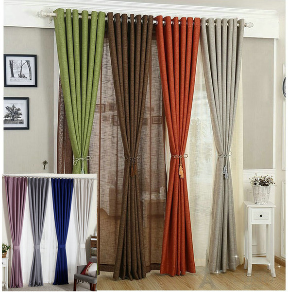 best selling Linen Curtains For Living Room Tulle+Cloth Curtain White Red Orange Green Solid Rustic Eco-friendly Window Treatment Shades