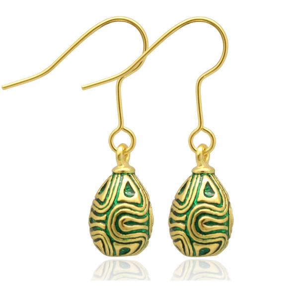 Gümüş ve altın Kaplama moda Çember HATTı faberge yumurta charm bırak küpe Paskalya tarzı için Rus tarzı