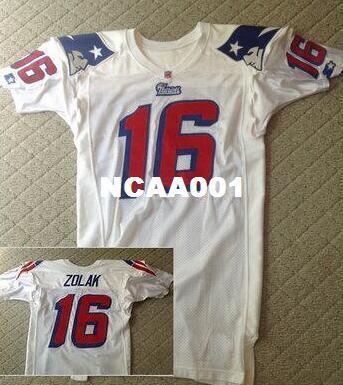 Homens Scott Zolak # 16 Team Emitido 1990 White College Jersey tamanho s-XXXL ou personalizado qualquer nome ou número jersey