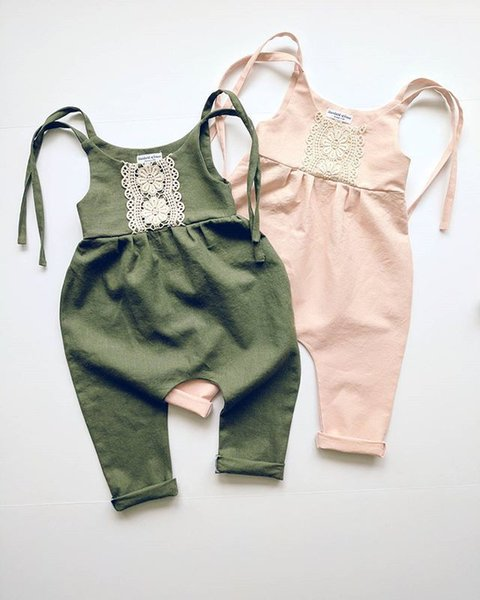 top popular 0-24M Infant Toddlers Baby Boy Girl Summer Clothes One-piece Pants Lace Green Romper Jumpsuit Shoulder Straps Bodysuit 2019