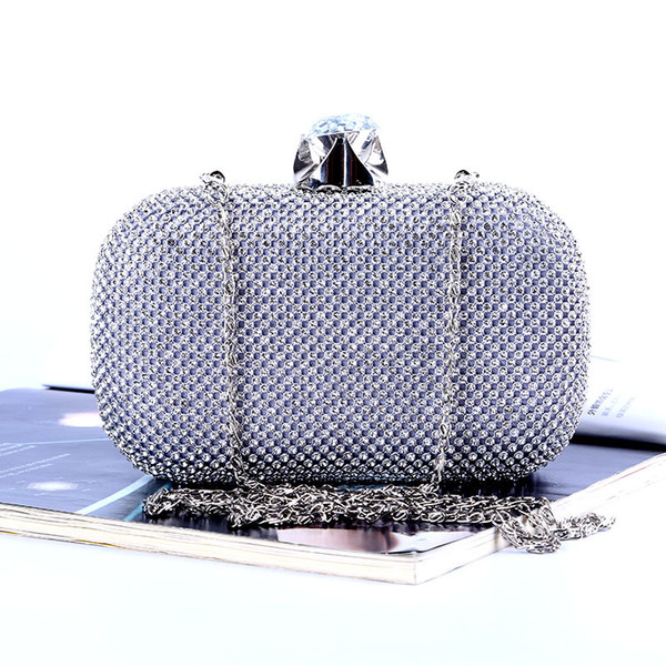 Factory/Retaill/Wholesale brand new handmade attractive diamond evening bag/clutch with satin for wedding/banquet/party/porm(more colors)