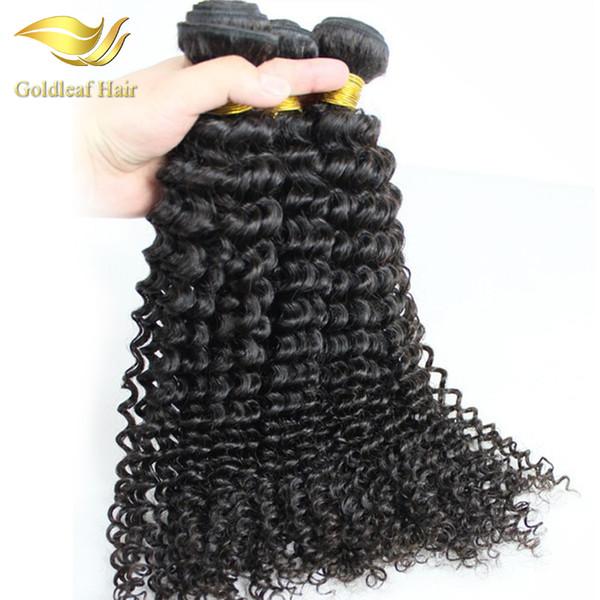 Pelo rizado malasio 3pcs / lot Paquetes de cabello virgen de ola profunda de onda profunda 8-28 pulgadas Natural Negro Brasileño Peruano Indio Pelo rizado