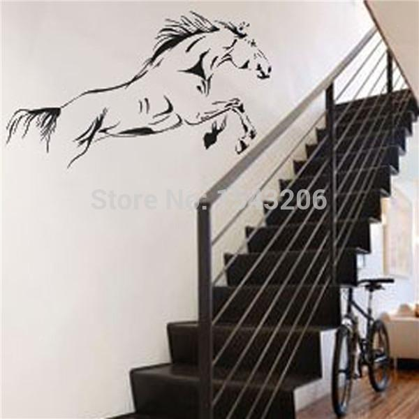 High quality Waterproof Black Jumping Horse Art Wall Stickers Vinyl Decal Stylish Home Graphics Bedroom Decoration order<$18no track