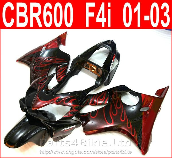 Hot sale Red flame body parts Style for Honda CBR600 F4i fairing kit 2001 2002 2003 CBR F4i cbr600f4i fairings QCUS
