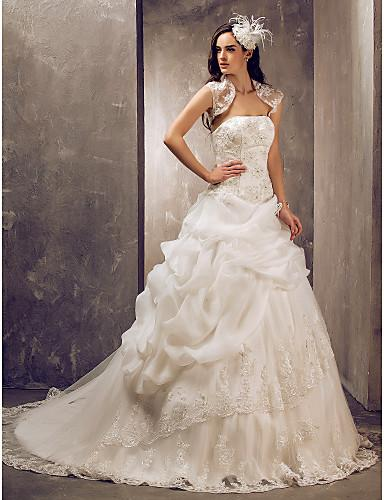 2016 New Hot Fashion Free Shipping Elegant Ball Gown Ivory Sweep/Brush Train Strapless Appliques Organza/Lace Luxurious Wedding Dresses 155