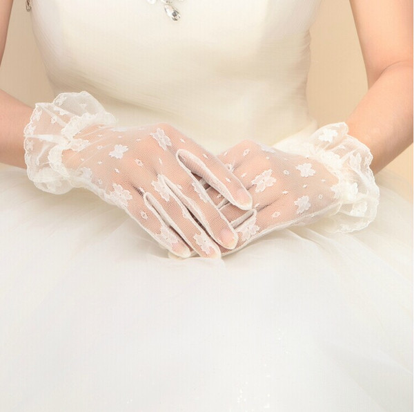 Special price Beautiful Short White Tulle Bridal Glove Wedding Bride Gloves also for women's formal prom gloves