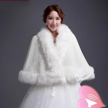 2015 New Short White Faux Fur Shrug Cape Stole Wrap Wedding Bridal Special Occasion Shawl