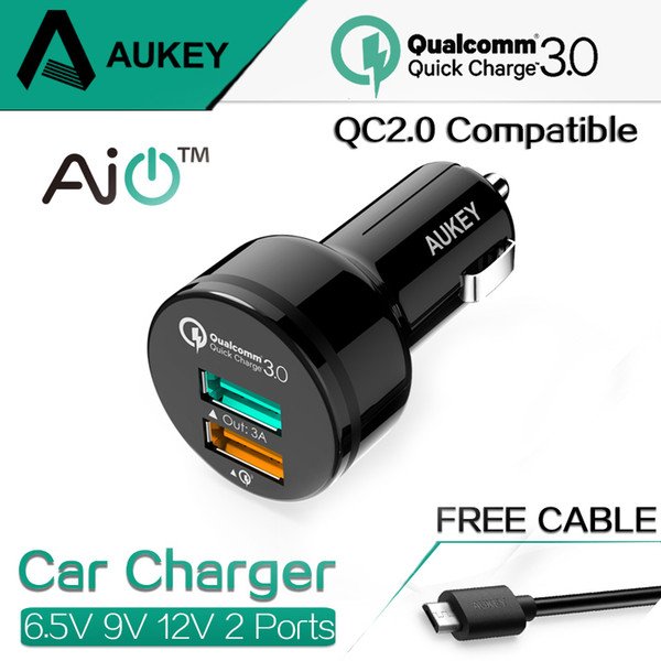Wholesale-AUKEY For Qualcomm Quick Charger 3.0 9V 12V 2 Ports Mini USB Car Charger for  6s iPad Samsung HTC Xiaomi QC2.0 Compatible