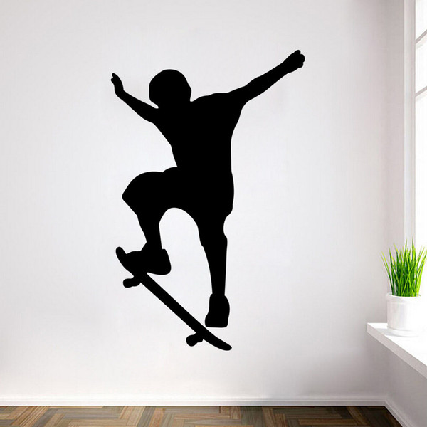 New Arrival Single-skateboarding Sports Silhouette Wall Decals - Boy Skateboard Silhouette Removable Graphic 60*90CM Free Shipping