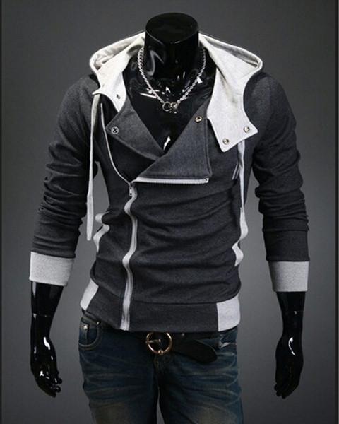 Vendita all'ingrosso-Uomini caldi 2016 Assassins Creed Felpa con cappuccio Design Brand Zipper Felpa da uomo Tuta Taglia M-6XL