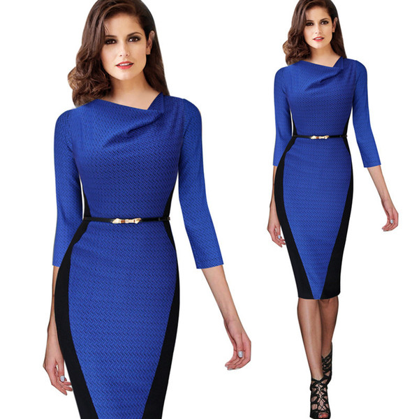 2015 Women Belted Summer Elegant Optical Illusion Draped Neck Tunic Wear To Work Business Casual Sheath Pencil Dress 348