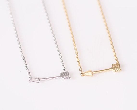 10PCS-N010 Gold Silver Hunger Games Arrow Point Pendant Necklace Tool Sideways Green Arrow Necklace for Women