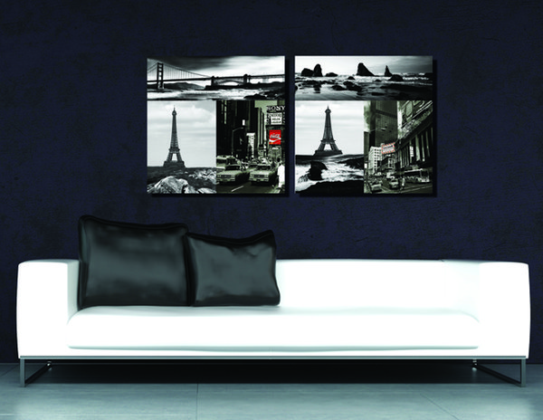 2 Pieces Free shipping Art Picture Paint on Canvas Prints Eiffel Tower Brooklyn Bridge Bustling city Leaning Tower of Pisa Kissing lovers
