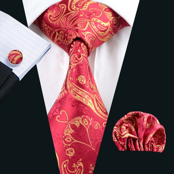 Neck Tie Set Mens Silk Tie Hanky Cufflinks Set Red Floral Pattern Jacquard Woven Formal Work Meeting Leisure N-0367