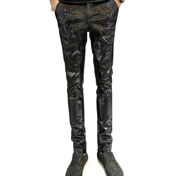 Wholesale- MORUANCLE Mens Faux Leather Pants PU Motorcycle Ridding Suede Trousers Slim Fit Biker Leather Joggers For Male Size 28-36